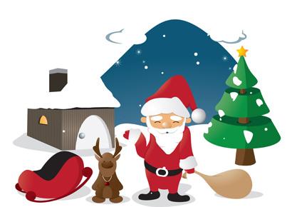 Christmas Card with Santa and Deer 1016