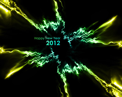 New Year 2012 Yellow Green Abstract Wallpaper 1030
